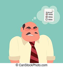Businessman confused with paper note with to do list
