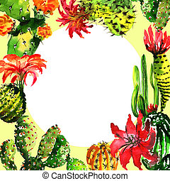Tropical cactus tree frame in a watercolor style isolated....