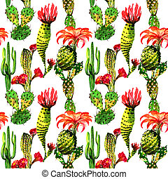 Tropical cactus tree pattern in a watercolor style isolated....