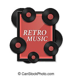 Hit vinyl in frame on wall, Collection disc retro music, template design element, Vector illustration