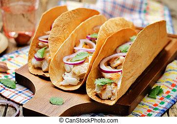 pollo, arroz,  cilantro,  Tacos