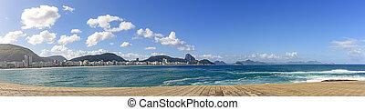 Copacabana beach - Panoramic image of Copacabana beach in...