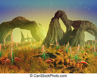 Alien Landscape - An eerie green glow permeates this alien...
