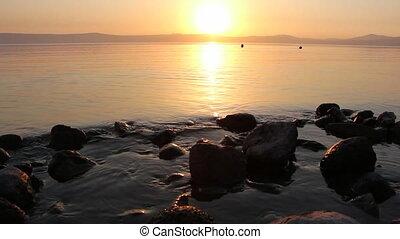 sunset sea of galilee - Shot of sunset sea of galilee