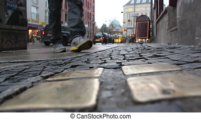 Stolpersteine memorial - Shot of Stolpersteine memorial