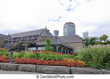 Niagara Falls - flower bed in front of public building in...