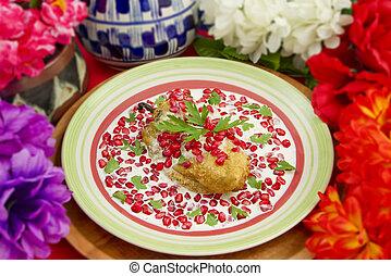 Chile Nogada Mexican Dish Shallow Focus - Chile en Nogada...