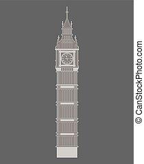 Big Ben vector contur. England or London icon.