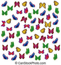 Much varicoloured insects butterfly