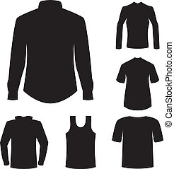 shirts and garment silhouette vector on white background