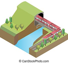 Railroad tunnel with train, bridge above the river, on nature background