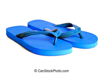 Rubber embed with plastic sandal or slipper product isolated...