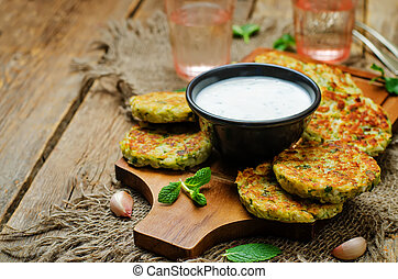 Cauliflower sweet potato Fritters with greek yogurt mint...