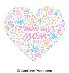 Colorful hand drawn heart with flowers and other...