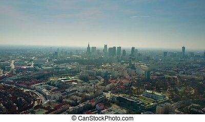 Aerial shot of old town and downtown of Warsaw, Poland. 4K...