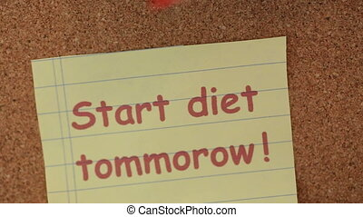 start diet tomorrow note