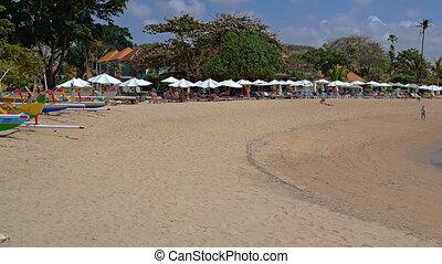 Public Beach. Bali Island, Indonesia. FullHD video