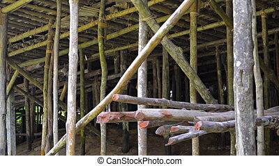 Wooden Piers under a House in Borneo, Malaysia. - Long...
