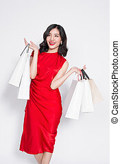 Glamorous Summer Shopping Asian Lady Style With Red Dress