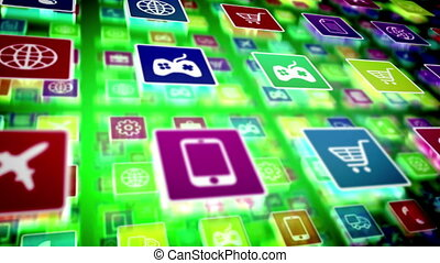"""Mobile Cellphone Apps icons store concept"" - ""Mobile..."