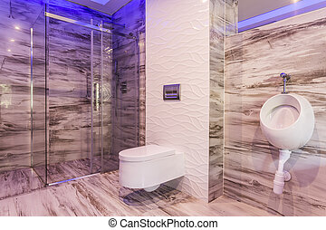 Marble bathroom with glass shower enclosure - Marble...