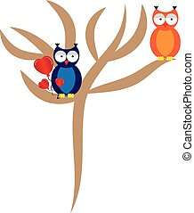 Falling love owl with tree on white background. Vector...