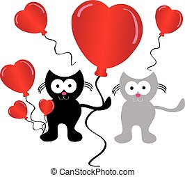 Falling love cats with hearts balloon on white background....
