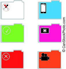 Color folders on white background