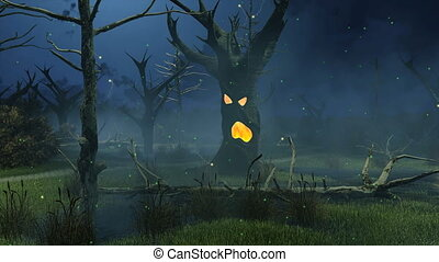 Fantastic spooky tree at night swamp cinemagraph - Mystic...