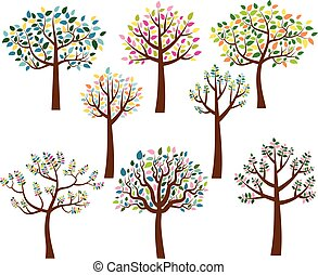 Vector set of cartoon trees with colorful leaves