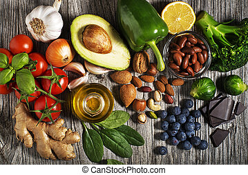 Healthy food with vegetable and fruit - Selection of healthy...