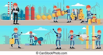 Petrochemical Industry Characters Horizontal Banners -...