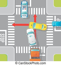 Car Accident Top View Concept - Car accident top view...