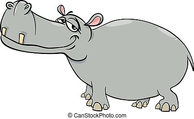 hippopotamus cartoon character - Cartoon Illustration of...