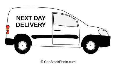 Small Next Day Delivery Van - A small white next day...