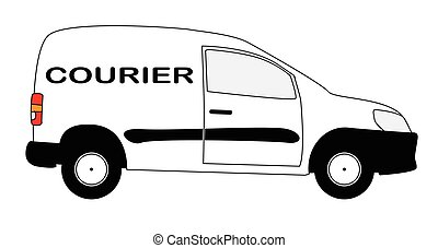 Small Courier Delivery Van - A small white courier delivery...