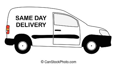 Small Same Day Delivery Van - A small white same day...