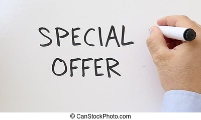 Special offer written on whiteboard - Whiteboard writing...