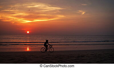 Tourist Riding Bicycle on the Beach at Sunset. Video 1080p