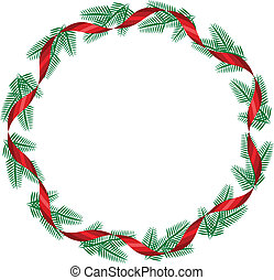 Christmas wreath with red ribbon. vector illustration