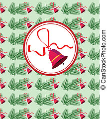 Cristmas red bell with ribbon on pine-tree branch background