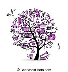 Music instruments tree, sketch for your design