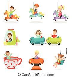 Children having fun in an amusement park, set for label design. Cartoon detailed colorful Illustrations