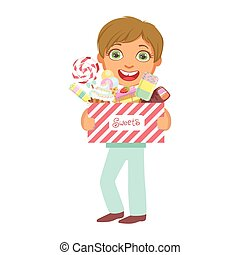 Cute little boy carrying a box of sweets, a colorful character