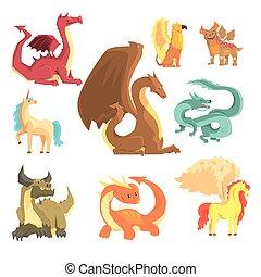 Mythological animals, set for label design. Dragon, unicorn,...