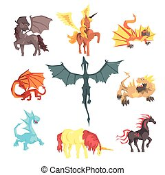 Mythical and fantastic creatures, set for label design....