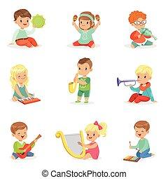 詳細, 很少, 孩子, 鮮艷, 坐, 卡通, 音樂, 集合, 設計, 儀器, 說明, 標簽, 玩
