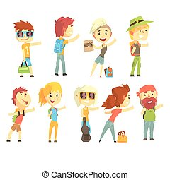 Hitch hike traveler person, set for label design. Cartoon...