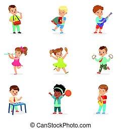 詳細, 2UTE, 集合, 鮮艷, 儀器, 跳舞, 玩, 音樂, 說明, 卡通, 標簽, 孩子, 設計