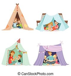 Cute little children playing with a teepee tent, set for...